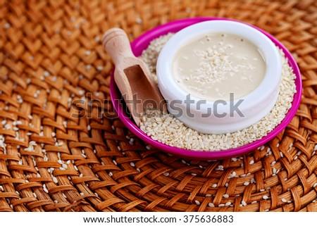 homemade tahini - food and drink - stock photo