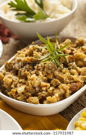 Homemade Thanksgiving Stuffing Made with Bread and Herbs - stock photo