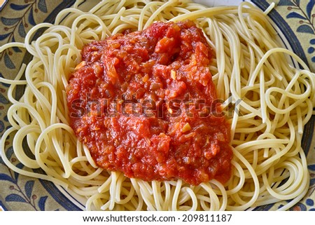Homemade tomato sauce spaghetti, plate with botanical design. Quickly cooked with diced canned tomato, sliced onions, extra virgin olive oil and sprinkle of salt. Vegetarian dish. - stock photo
