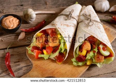 Homemade tortillas - stock photo