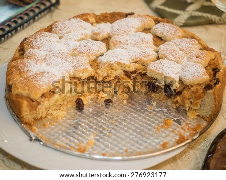 Homemade traditional Polish crumble cinnamon apple cake. - stock photo