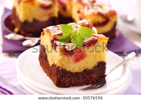 homemade two layers plum cake with almonds - stock photo
