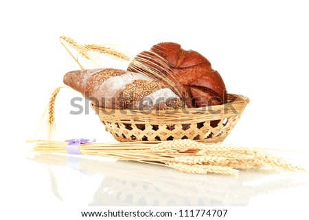 Homemade whole bread isolated on white background - stock photo