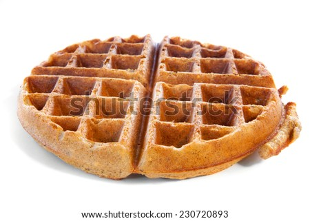 Homemade whole grain waffle on white - stock photo