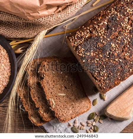 homemade whole wheat bread - stock photo