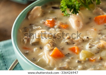 Homemade Wild Rice and Chicken Soup in a Bowl - stock photo