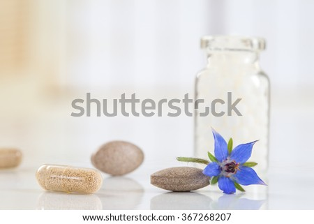 Homeopathy globules with borage flower   - stock photo