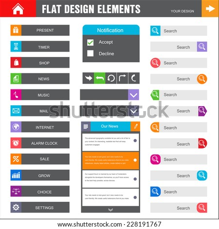 Homepage. A page website design template. Flat Web Design set elements  buttons  icons  gui  concept illustrations  - stock photo