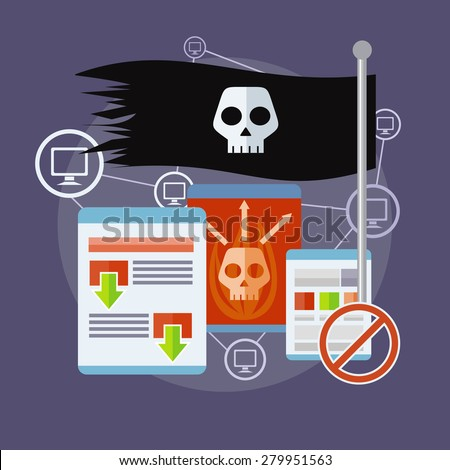 Homepage of pirate sites with flag concept. Can be used for web banners, marketing and promotional materials, presentation templates. Raster version - stock photo