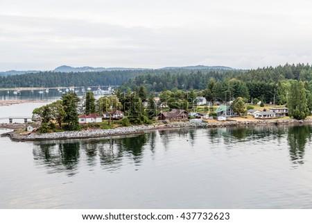 Homes along the coast of Canada near Nanaimo - stock photo