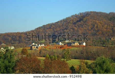 Homes Next to Mountain - stock photo
