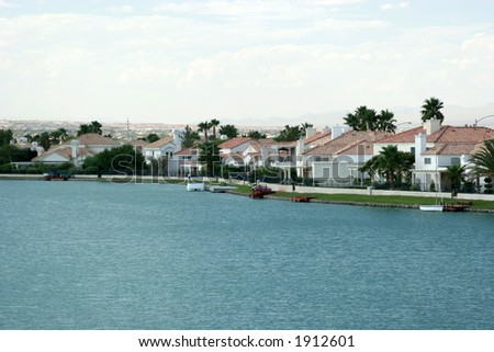 Homes with water view - stock photo