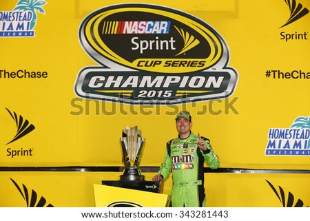 Homestead, FL - Nov 23, 2015: Kyle Busch (18) wins the 2015 NASCAR Sprint Cup Championship following the FORD EcoBoost 400 at Homestead Miami Speedway in Homestead, FL. - stock photo