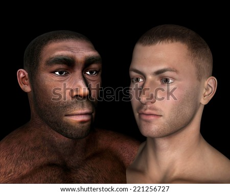 Homo erectus and sapiens comparison in black background - 3D render - stock photo
