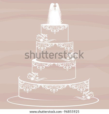 homosexual couple standing on top of a wedding cake - stock photo
