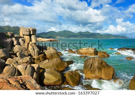 Hon Chong island, popular tourist destinations at Nha Trang. Vietnam - stock photo