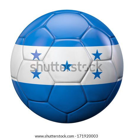 Honduran flag football ball. Clipping path included for easy selection. - stock photo