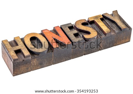 honesty welcome word abstract - an isolated banner in vintage letterpress wood type blocks stained by color inks - stock photo