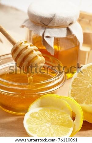 honey and lemon - stock photo
