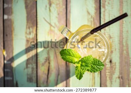 Honey and lemon soda of drink summer - stock photo