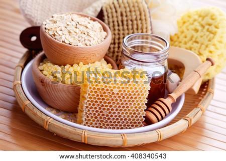 honey and spa treatment - beauty treatment - stock photo