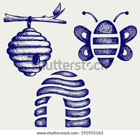 Honey bees and hive. Doodle style. Raster version - stock photo