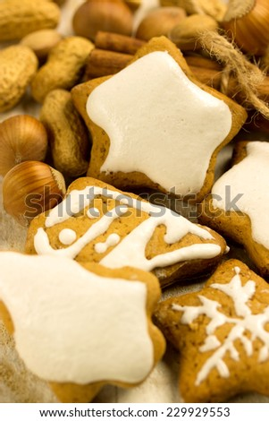 honey cookies in various shape with assorted nuts - stock photo
