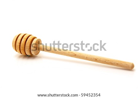 honey dipper isolated on white - stock photo