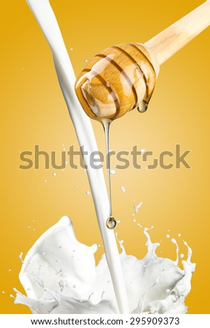 Honey Drip and Milk Splash - stock photo