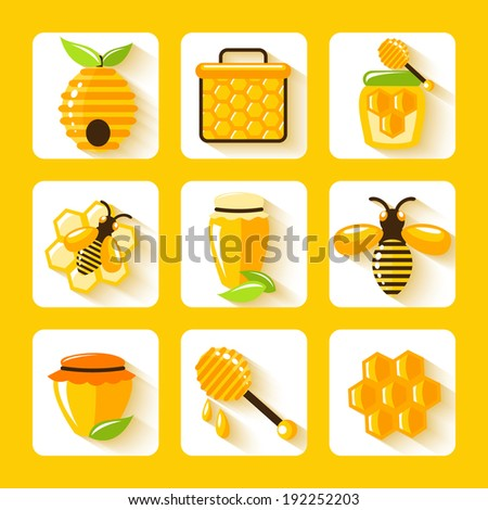 Honey drop comb bee hive and cell food agriculture flat icons set isolated  illustration - stock photo