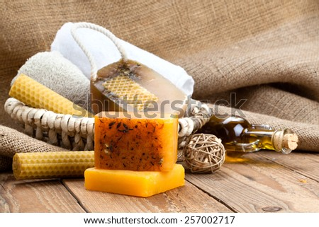 honey handmade soap bars, on wooden background - stock photo