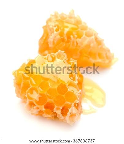 Honey honeycombs on the white background - stock photo