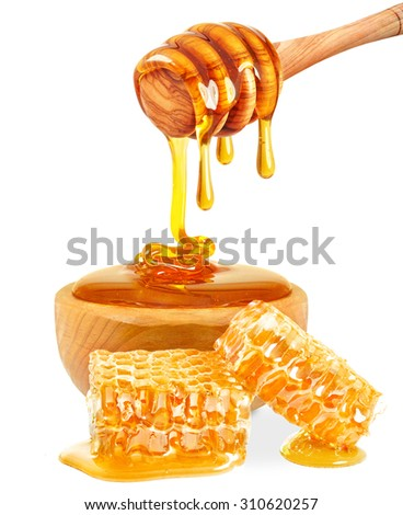 honey in a bowl and honeycomb isolated on white background - stock photo