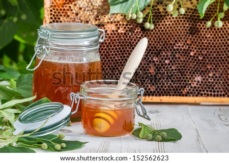 Honey in a jar and honeycomb with linden tree - stock photo