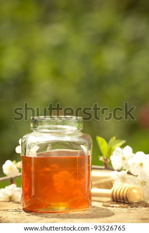 Honey jar, flower and wooden stick on table against spring natural background - stock photo