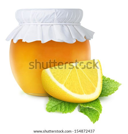 Honey, lemon and mint (natural medicine for winter flu), isolated on white - stock photo