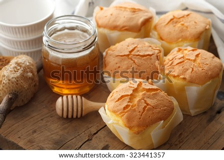 honey soft cheese cake sweet pastries dessert yummy bakery rustic still life closeup tea break delicious rustic background  - stock photo