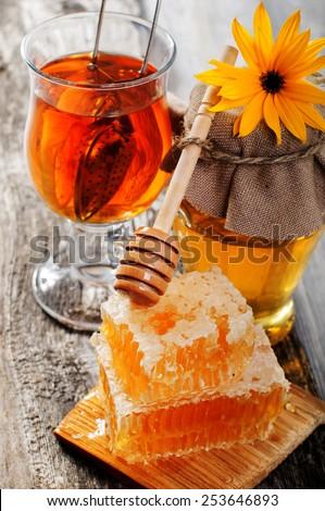 Honey tea - stock photo