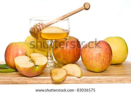 honey with  ripe  fresh apple for Rosh Hashana – jewish new year - stock photo