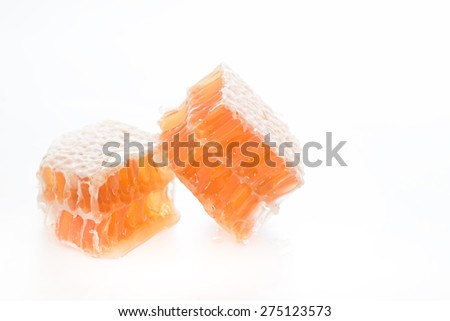 Honeycomb on a white background.  - stock photo