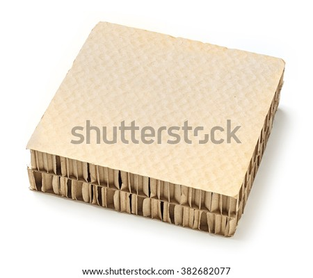 Honeycomb paper board used for cargo bracing or separators product in shipments, deep focus image - stock photo