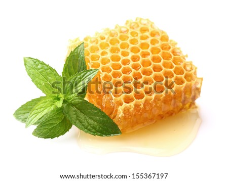 Honeycomb with mint in closeup - stock photo