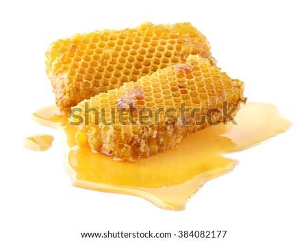 Honeycombs in closeup - stock photo