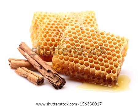 Honeycombs with cinnamon - stock photo