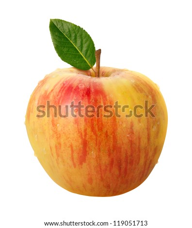 Honeycrisp Apple Isolated with clipping path on a white background - stock photo