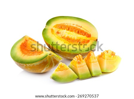 honeydew melon on white background - stock photo
