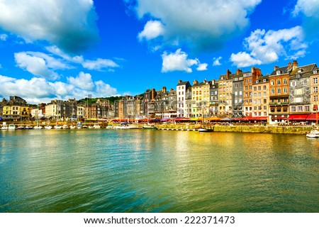 Honfleur famous village harbor skyline and water. Normandy, France, Europe. - stock photo