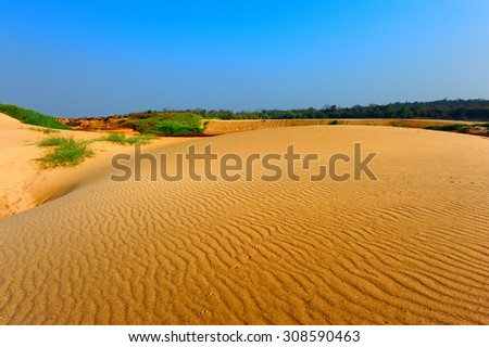 Hong Beach on Sam Pan Bok, Ubonratchathani (Thailand). Sand from Maekong River. Hong Beach is desert of Thailand. - stock photo