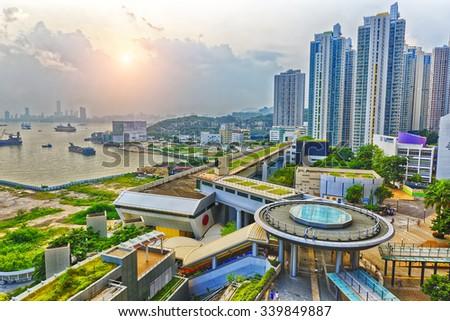 Hong Hong Public Estate Sunset - stock photo