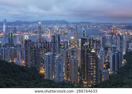Hong Knog Island and Victoria Harbor as viewed from The Peak viewing area. Hong Kong. China - stock photo